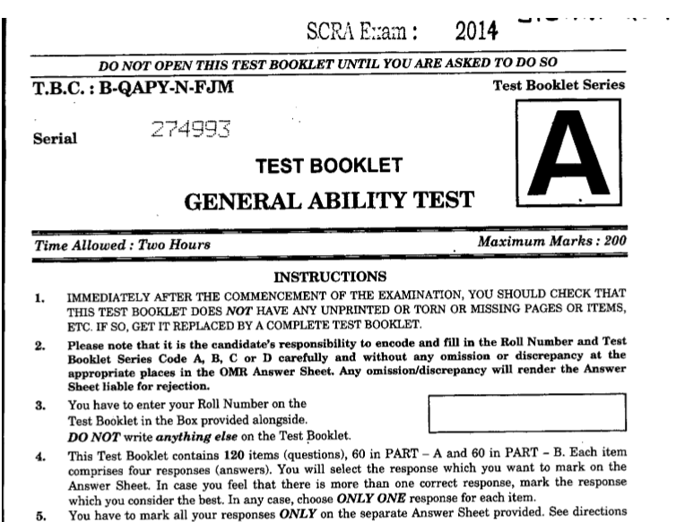 IRCTC General Ability Test Question Paper 1 2014