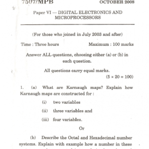 M.Sc. In Physics, Digital Electronics And Microprocessors Mock Test Paper 15