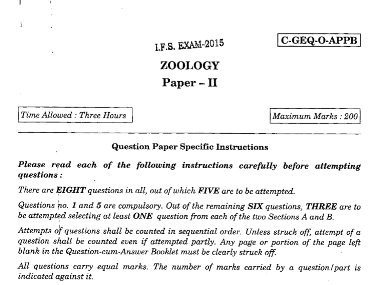 UPSC IFS Zoology Paper II-Question Paper 2015
