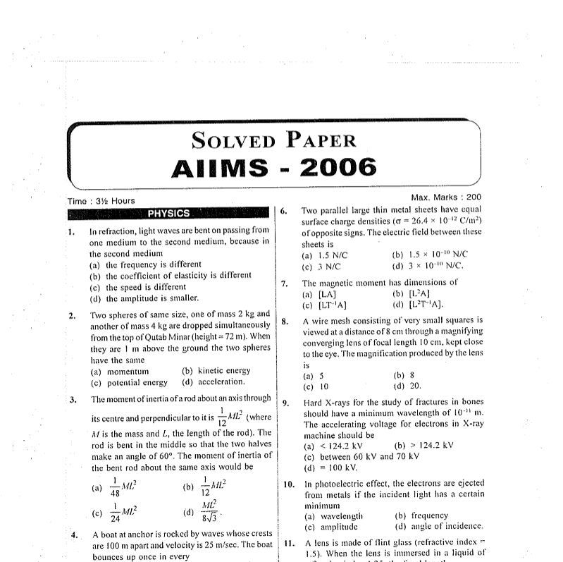AIIMS Question Paper 2006